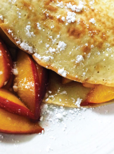french crepes with bourbon peaches